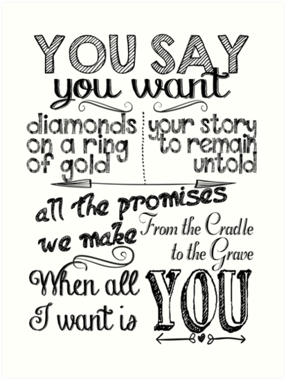 Music U2 All I Want Is You Print Song Lyrics Poster Wall Art