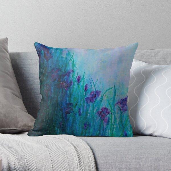 Iris on riverbank Throw Pillow