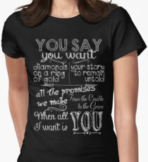 u2 all I want is you chalkboard white Women's Fitted T-Shirt