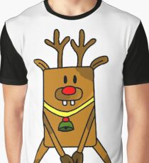 A Funny Reindeer with a red nose Graphic T-Shirt