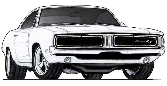 1968 dodge charger rt drawing posters by itsmeruva redbubble. Black Bedroom Furniture Sets. Home Design Ideas