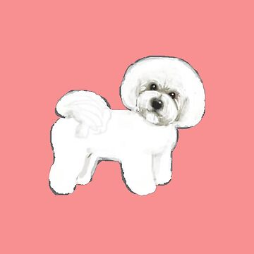 Bichon Frise dogs on coral pink / valentines gift for dog lovers, Bichon Mom gift,  by MagentaRose