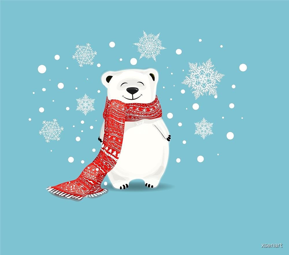 Cartoon Cute Polar Bear on Blue with red scarf .Christmas-New-Tear ...
