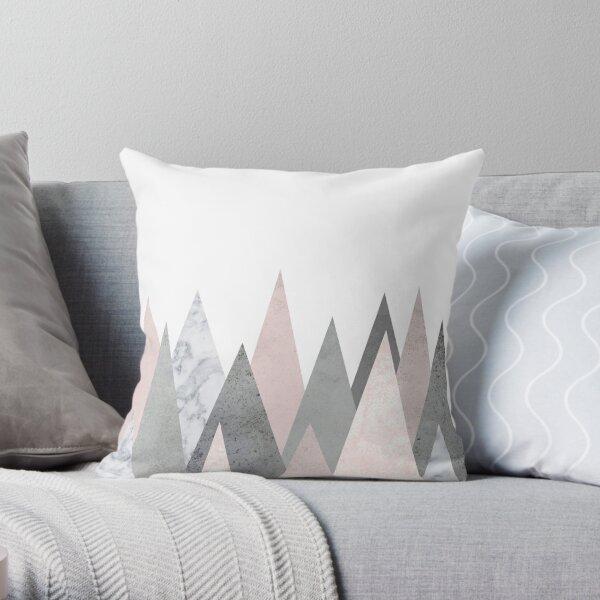 blush marble gray geometric mountains Throw Pillow
