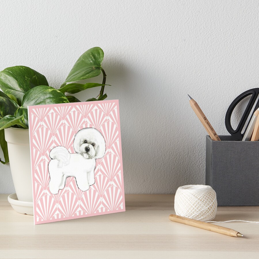 Bichon Frise on seashell pink, dog lovers, dog, poodle,  Art Board Print