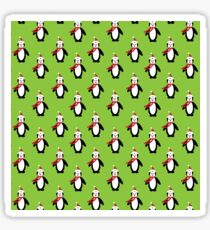 Modern cute red white Christmas penguin pattern Sticker