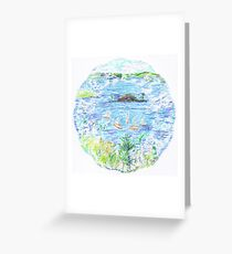 Five Boats in the Bay Greeting Card