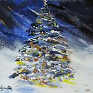 Christmas Tree at Night in the Snow by Lynn Ede