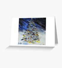Christmas Tree at Night in the Snow Greeting Card