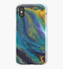 Peacock Marbled Colours Round Canvas iPhone Case/Skin