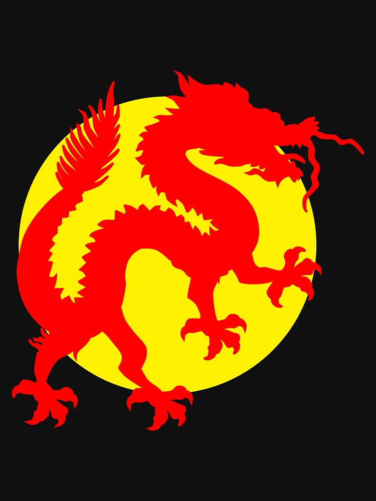 Red Chinese Luck Dragon Standing In Front Of The Golden Yellow Sun