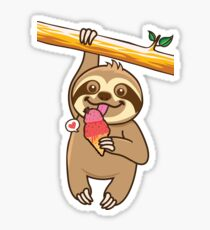 Sloth loves ice cream Sticker