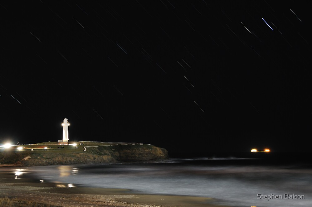 Wollongong Lighthouse Starttrails by Stephen Balson