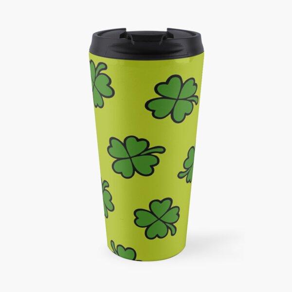 Lucky Four Leaf Clover Pattern Travel Mug