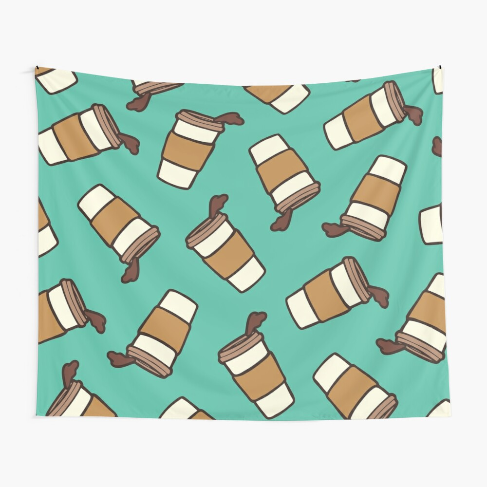 Take it Away Coffee Pattern Wall Tapestry