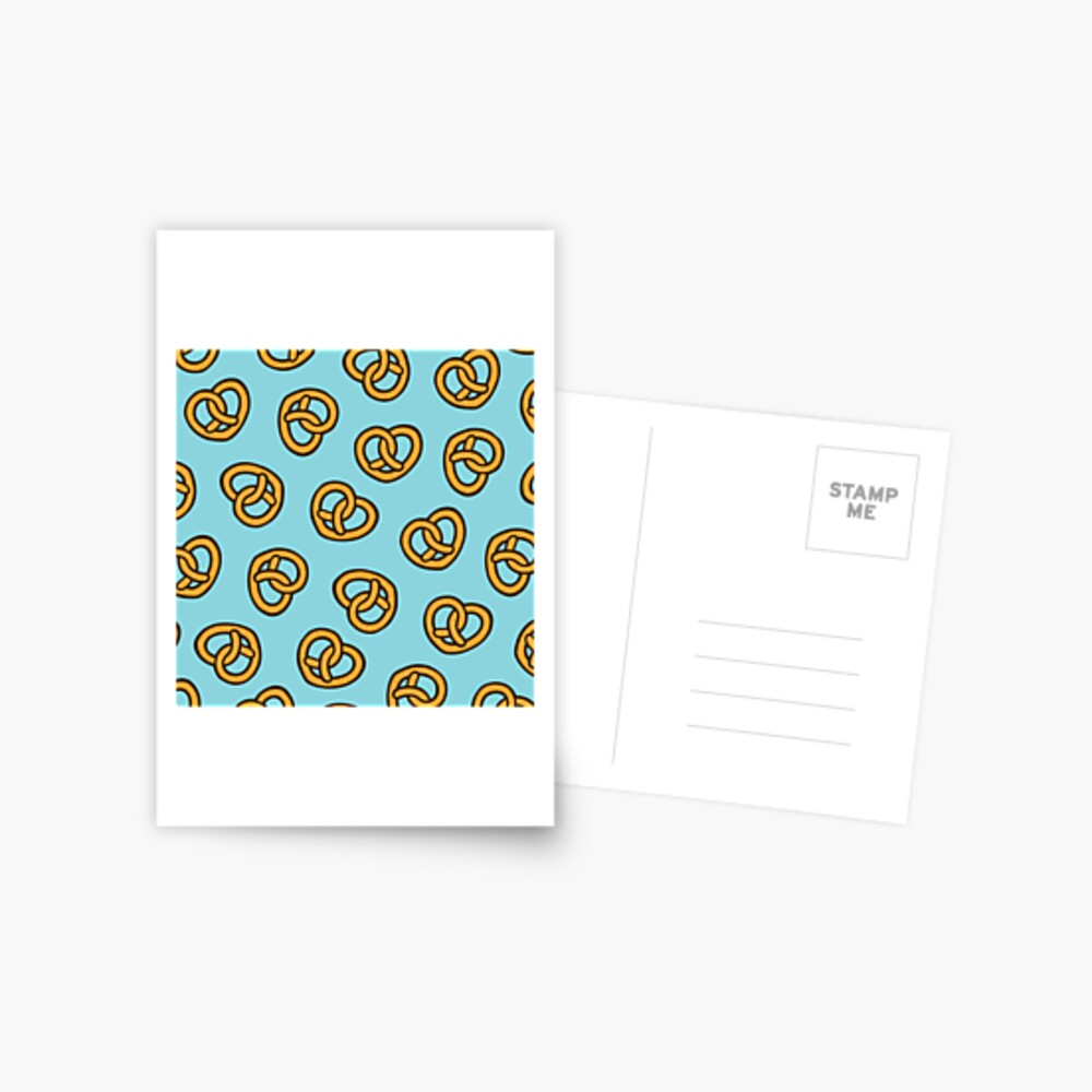 I Heart Pretzels Pattern Postcard