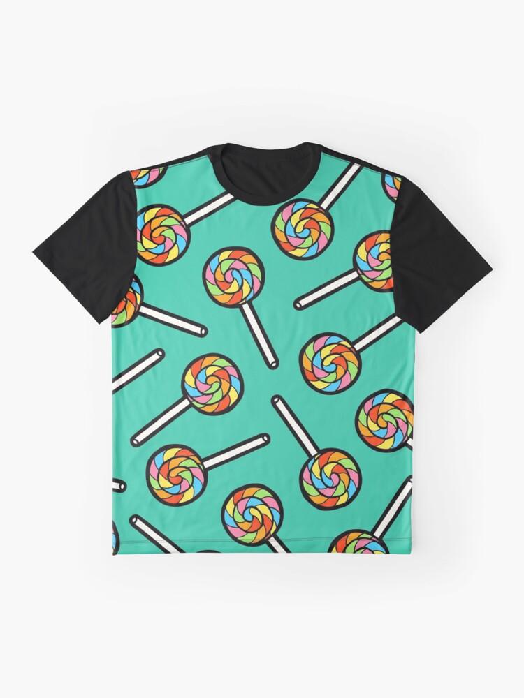 Alternate view of Rainbow Lollipop Pattern Graphic T-Shirt