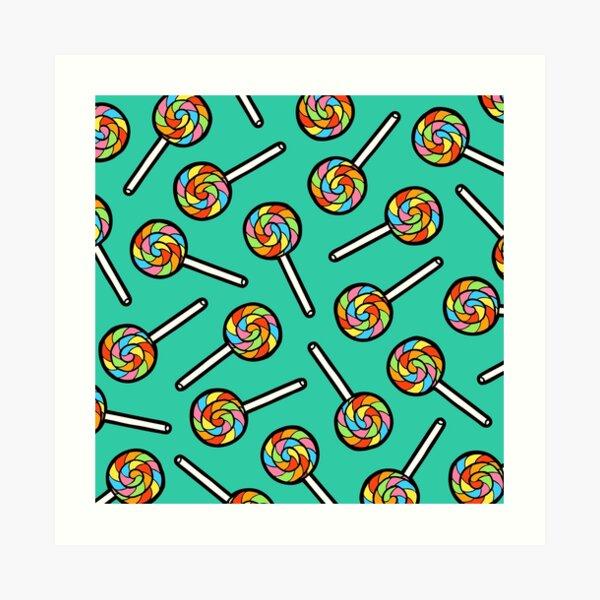 Rainbow Lollipop Pattern Art Print