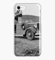 Dorothea Lange atop automobile in California. The car is a 1933 Ford Model C, 4 door Wagon. iPhone Case/Skin
