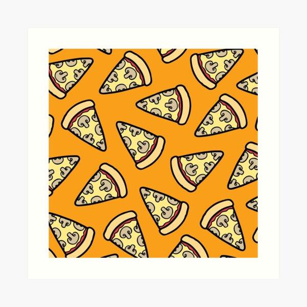Mushroom Pizza Pattern Art Print