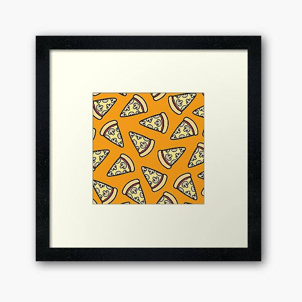 Mushroom Pizza Pattern Framed Art Print