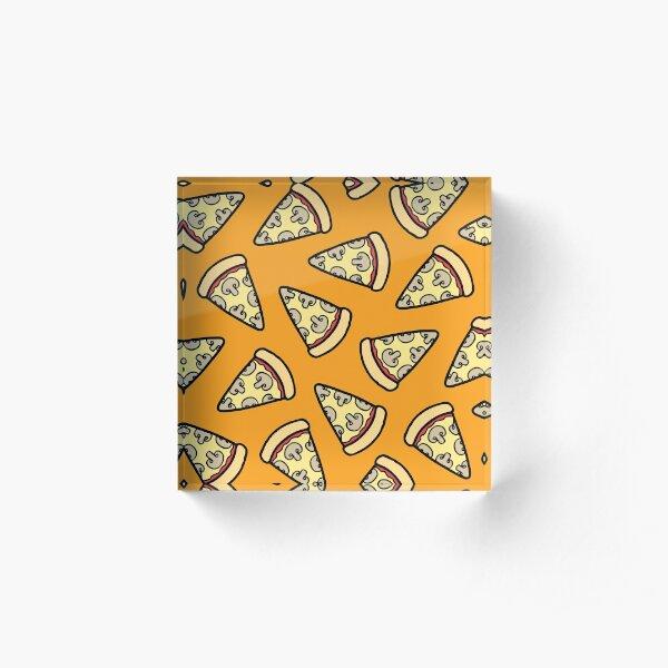 Mushroom Pizza Pattern Acrylic Block