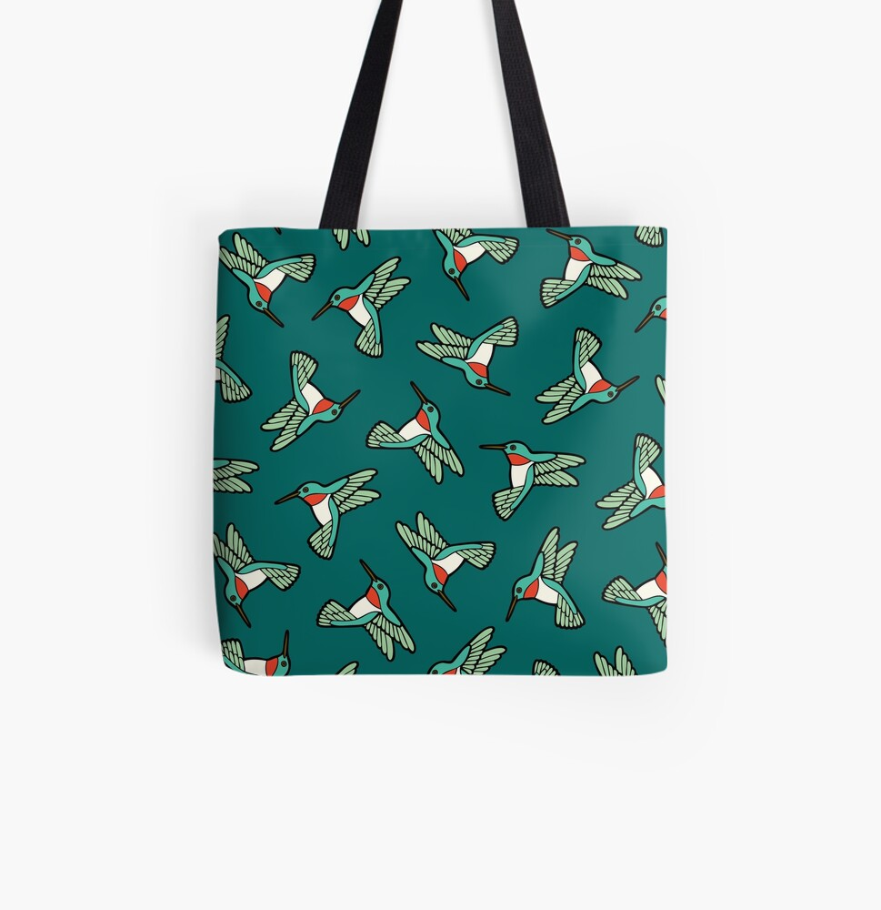 Hummingbird Pattern  All Over Print Tote Bag