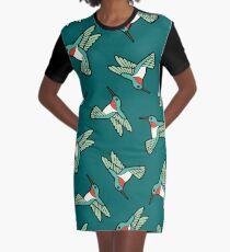 Hummingbird Pattern  Graphic T-Shirt Dress
