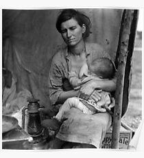 Dorothea Lange, Migrant mother (alternative), Nipomo, California, 1936 2 Poster