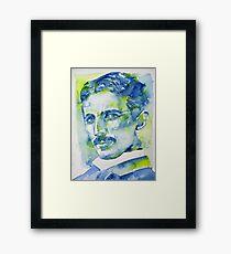 NIKOLA TESLA - watercolor portrait.7 Framed Print