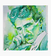 NIKOLA TESLA - watercolor portrait.8 Photographic Print