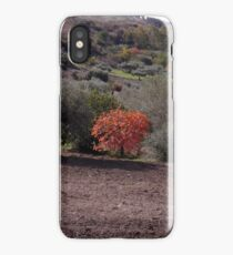 Red tree in sicilian countryside iPhone Case/Skin
