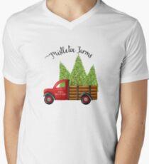 Mistletoe Farms Red Truck with Christmas Trees Men's V-Neck T-Shirt