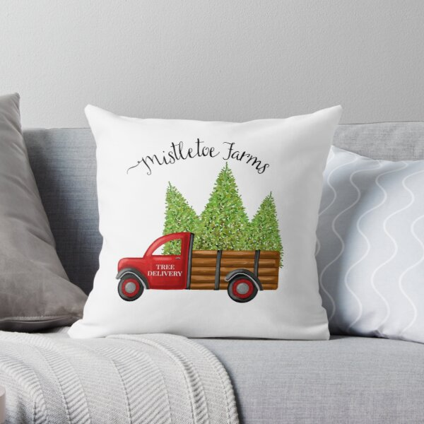 Mistletoe Farms Red Truck with Christmas Trees Throw Pillow