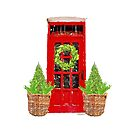 Red Door with Bowood Christmas Wreath by Ann Drake