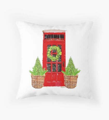 Red Door with Bowood Christmas Wreath Throw Pillow