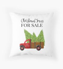 Christmas Trees For Sale Red Truck Throw Pillow