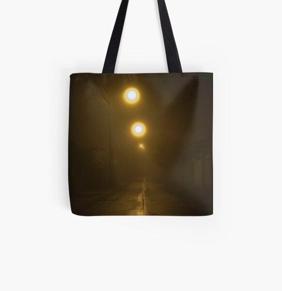 Foggy, dark lane All Over Print Tote Bag