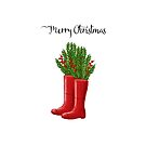 Merry Christmas Red Rain Boots with Greenery & Berries by Ann Drake