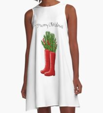 Merry Christmas Red Rain Boots with Greenery & Berries A-Line Dress