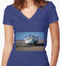 Boat at Low Tide, Exmouth,Devon UK Women's Fitted V-Neck T-Shirt