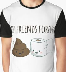 Best Friends Forever Poop And Toilet Paper Funny Graphic T-Shirt