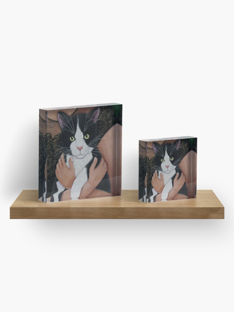 Alternate view of My cat friend (Woman with cat soul closer) Acrylic Block