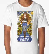 The Girl Who Waited (Amy under a Van Gogh sky) Long T-Shirt
