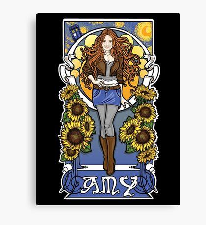 The Girl Who Waited (Amy under a Van Gogh sky) Canvas Print