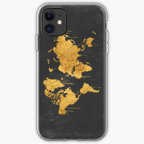 Gold World Map iPhone Soft Case