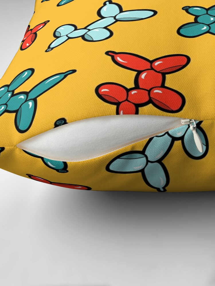 Alternate view of Balloon Animal Dogs Pattern in Yellow Throw Pillow
