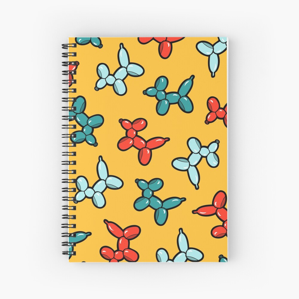 Balloon Animal Dogs Pattern in Yellow Spiral Notebook
