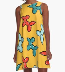 Balloon Animal Dogs Pattern in Yellow A-Line Dress