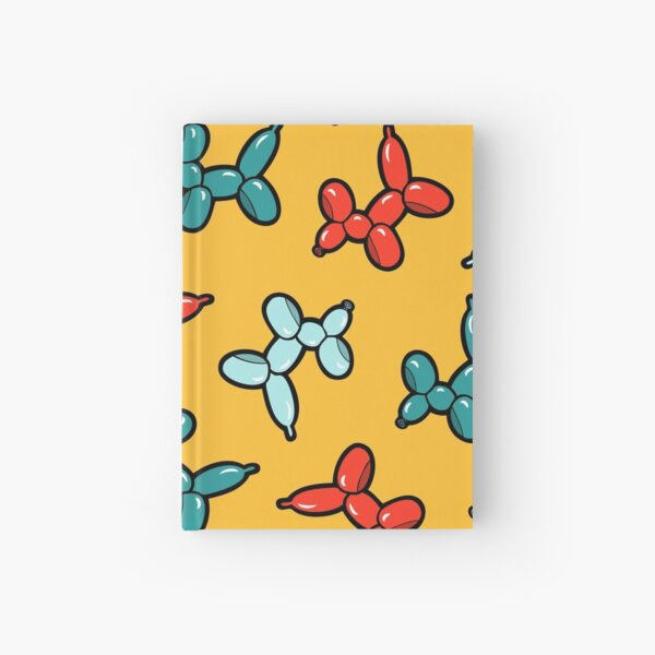 Balloon Animal Dogs Pattern in Yellow Hardcover Journal